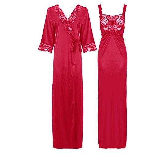 The Orange tags, camicia da notte di raso e pizzo lunga da donna, dettagliata 38-50 Cerise Large