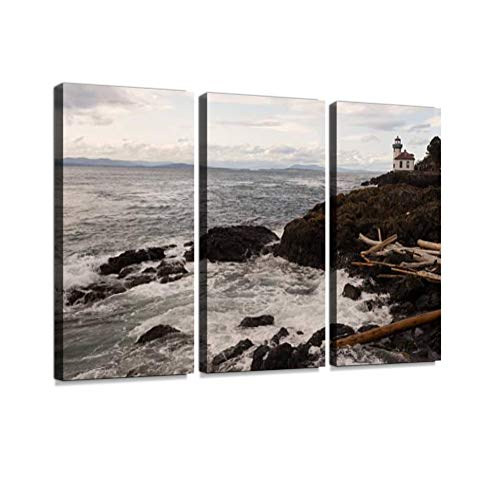 7houarts Lime Kiln Lighthouse HARO Strait Maritime Nautical Beacon Canvas Wall Artwork Poster Modern Home Wall Unique Pattern Wall Decoration Stretched and Framed - 3 Piece