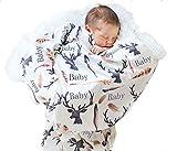 UNIQUEONE Newborn Cartoon Deer Print Blanket Wrap Swaddle Blanket Bath Towel+Hat Size 0-6Months (White)