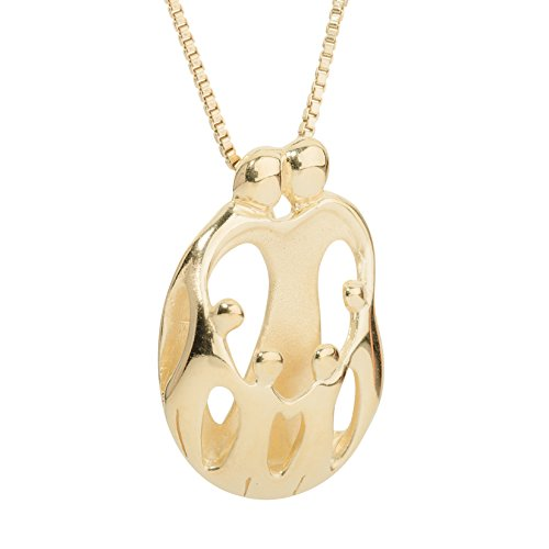 Loving Family - Yellow Gold Plated Sterling Silver Parents and Four Children Pendant - 18