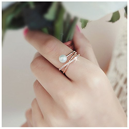 Freshwater Pearl with 14K Rose Gold Plated X Ring CZ Criss Cross Stackable Finger Rings Adjustable