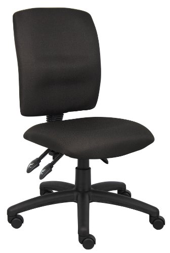 Task Fabric Crepe Chair - Boss Office Products B3035-BK Multi-Function Fabric Task Chair without Arms in Black