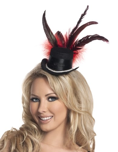 Halloween Costume Burlesque Accessories (Mystery House Costumes Burlesque Mini Hat, Black, One)
