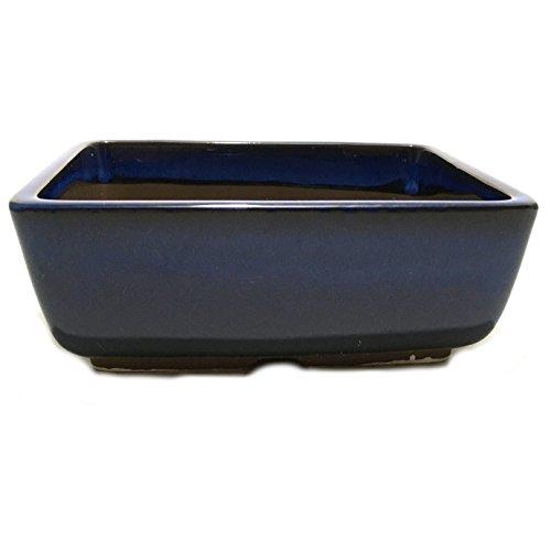 Bonsai Pot Ceramic Rectangle Round shaped corners Blue Glazed (5.5