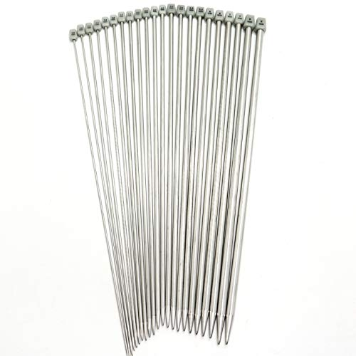 Metal Needles - AQUEENLY Metal Knitting Needles Set 13.8 Inches Hollow Forged Stainless Steel Straight Knitting Needles with Plastic Size Head, 11 Sizes (2 mm - 8 mm), 22 PCS