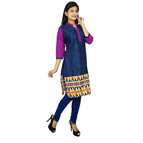 Bollywood diseñador de las mujeres indias usan étnico casual vestido superior de la túnica Kurti Azul marino y púrpura