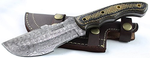 Moorhaus Handmade Raindrop Damascus G10 Black & Tan Micarta Tracker Knife With Black Sheath