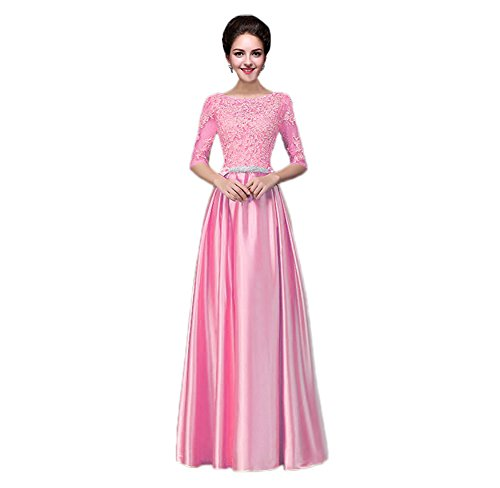 Party Dresses BessWedding Long Elegant Prom with Sleeves Pink Bridesmaid Women's Lace 0q77pwxAn