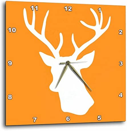 3dRose DPP_179701_2 White Stag Head Silhouette on Orange Country Deer with Antlers Wall Clock, 13 by 13