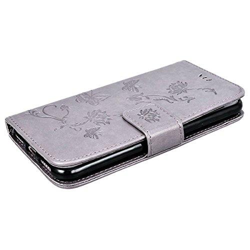 SMART LEGEND Lederhülle für iPhone 8 Ledertasche Hülle Gold Drucken Weinstock Muster Schutzhülle Premium PU Leder mit Handschlaufe Flip Case Protective Cover Innere Weiche Silikon Bookcase Handy Tasch
