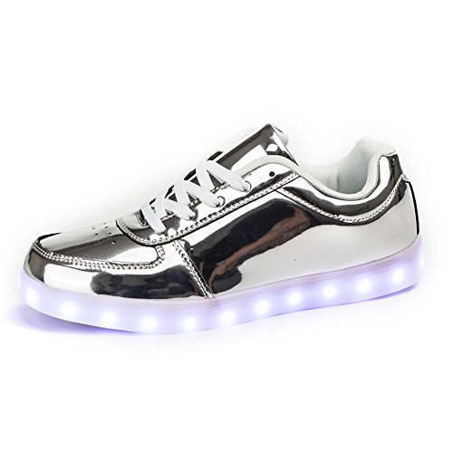 [NEW SIZE VERSION] SanYes USB Charging LED Shoes Flashing Sneakers SYDB551-Silver-37