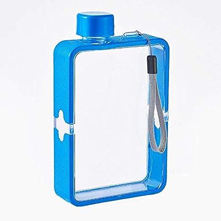 MORANGO Botella de Agua Plana 380ml, Cantimplora de plástico, Botella Transparente con asa, Taza de Viaje, Cantimplora Cuadrada A5