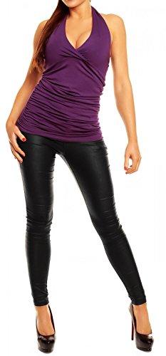 Glamour Empire mujer ata alrededor del cuello sin respaldo con la camiseta 167 Púrpura