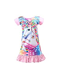 LQSZ Girls Nightgowns Unicorn Sleep Shirts Pajama Casual Night Dress 3-10 Years