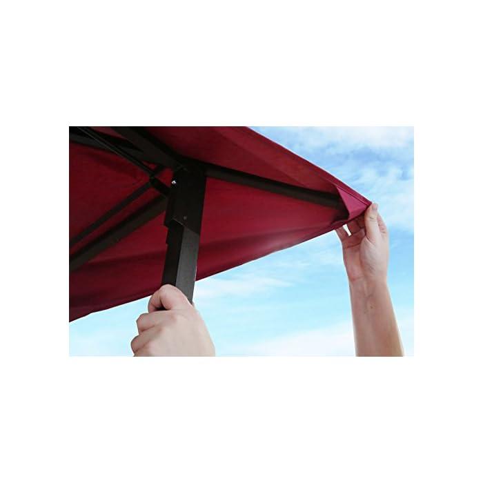 Pabellón de metal con tela impermeable y mejor flujo de aire a través de doble techo Paredes laterales incluidas en el suministro Montaje sin tornillos