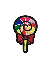 Rainbow Lollipop Embroidered Iron On Patch Applique, Multi