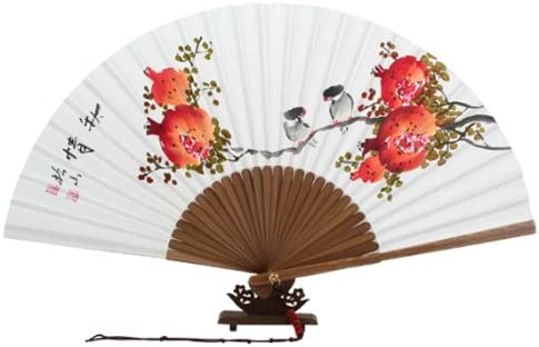 Large Art Deco Hand Painted Japanese Red Silk and Bamboo Folding Hand Fan