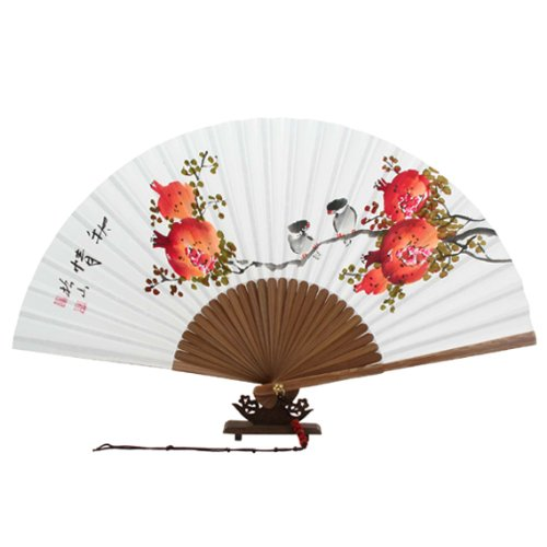 Red Pomegranate and Bird Painting Korean Decorative Fan