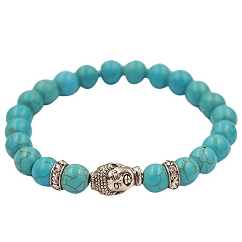 Clearance Women Men Agate Beaded Bracelet Buddha Elastic Tibet Charm Bracelets ()
