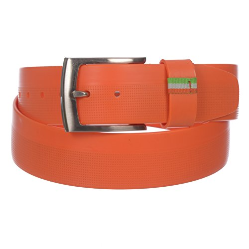 PGA TOUR Men's Smooth 38MM Silicone Belt with Embossed Design(Orange, 42)