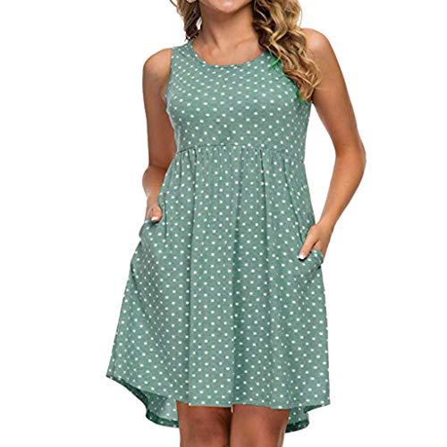Swarovski T-shirt Tank Top - LONGDAY Women Summer Tank Top Mini Dress Polka Dots Crew Neck Sleeveless Shirt Swing Dress Skater Dress Casual Tunic Green