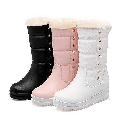 Vestido Blanco Otoño redondo Remache Dedo white de Semicuero Zapatos Invierno Mujer Mitad Botas de Casual Tacón Heart amp;M pelusa Gemelo Plano Para Forro wFqxRO1C