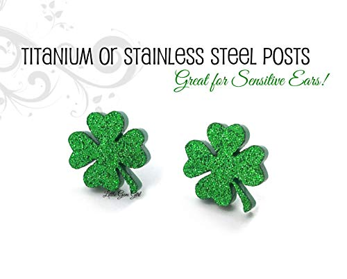 Sparkly Green Shamrock 4 Leaf Clover Earrings in Titanium or Stainless Steel - Luck of the Irish ()