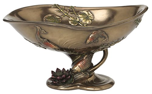 9.25 Inch Victorian Ceramic Look Condiment Dish Lotus Koi and Leaves (Victorian Tile Ceramic)