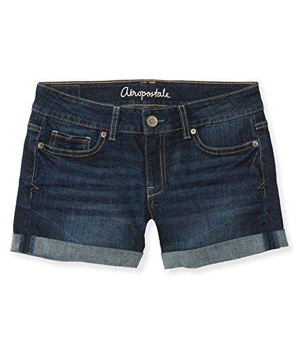 Aeropostale Womens Cuffed Boyfriend Casual Bermuda Shorts, Blue, 000 - Aeropostale Bermuda