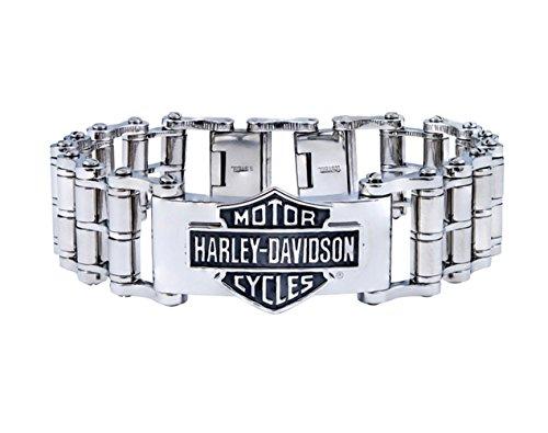 Harley-Davidson Mens Stainless Steel B&S Large Bike Chain Bracelet (7.5) (Harley Bracelet Men)
