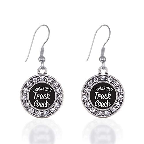 Inspired Silver - World's Best Track Coach Charm Earrings for Women - Silver Circle Charm French Hook Drop Earrings with Cubic Zirconia Jewelry