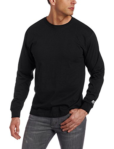 Russell Athletic Men's Basic Cotton Long Sleeve Tee, Black, Large