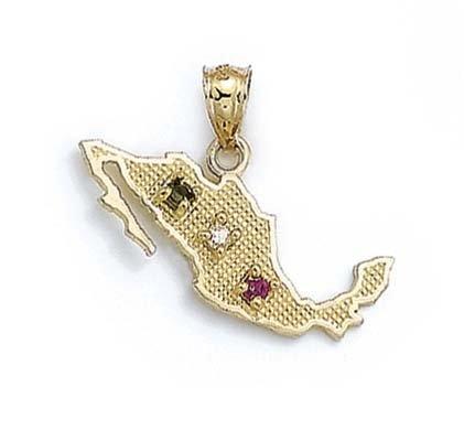 Le Mexique 14 Carats Pendentif Oxyde de Zirconium-JewelryWeb