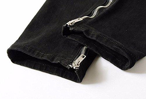 Skinny Cuciture Moda Pantaloni Uomo Nero Distrutto Pants Fit Jeans Minetom Denim Cerniera Strappati Alla Con tqST88Pnx