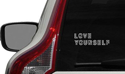 BTS Text Love Yourself Version 2 Car Die Cut Vinyl Decal Bumper Sticker for Car Truck Auto Windshield Wall Window Ipad Tablet Macbook Laptop Computer Home Custom and More (White)