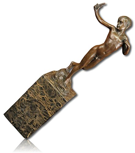 Custom & Unique {13 x 5 Inch} 1 Single Large, Home & Garden Standing Statue Figurine Decoration Made of Grade A Genuine Bronze w/ Marble Base Nude Young Boy Stretching His Arms Bowing Head {Brown}