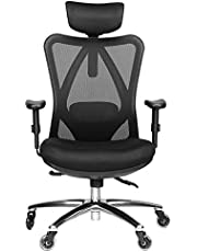 Duramont Ergonomic Adjustable Office Chair with Lumbar Support and Rollerblade Wheels - High Back with Breathable Mesh - Thick Seat Cushion - Adjustable Head & Arm Rests, Seat Height - Reclines