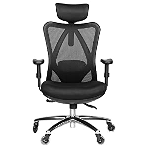 Duramont Ergonomic Adjustable Office Chair with Lumbar Support and Rollerblade Wheels – High Back with Breathable Mesh – Thick Seat Cushion – Adjustable Head & Arm Rests, Seat Height – Reclines