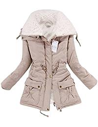 Women's Winter Warm Faux Fur Wool Hooded Coat Parka Cotton Outwear Jacket