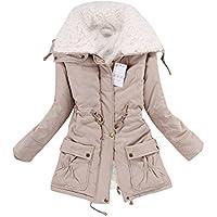 Aro Lora Women's Winter Warm Faux Fur Wool Hooded Coat Parka Cotton Outwear Jacket