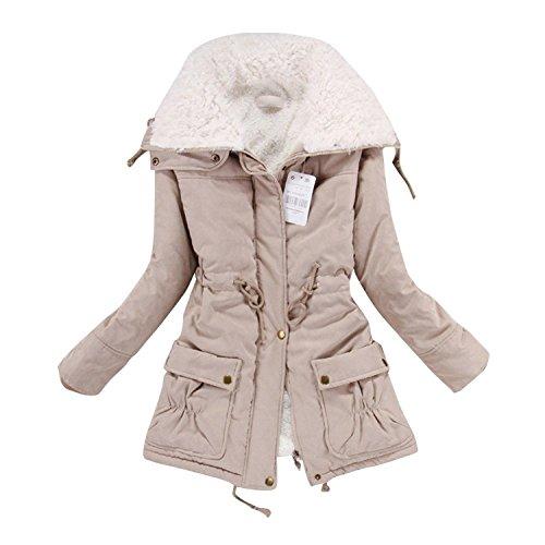Liran Women's Winter Warm Wool Cotton-Padded Coat Parka Long Outwear Jacket US XX-Large Khaki by Liran (Image #2)