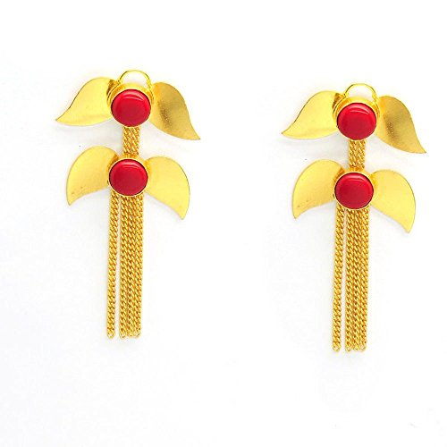 Vaidehijewellers01 Designer 18k Gold Plated Red Glass Coral Gemstone Stud Beautiful Part Wear Earring for Women