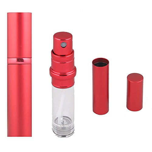 SIXTMOON Perfume Spray Bottle, 5 ml Portable Perfume Atomizer, Travel Size, Leaking Proof, Refillable Perfume Container for Women and men - Red -