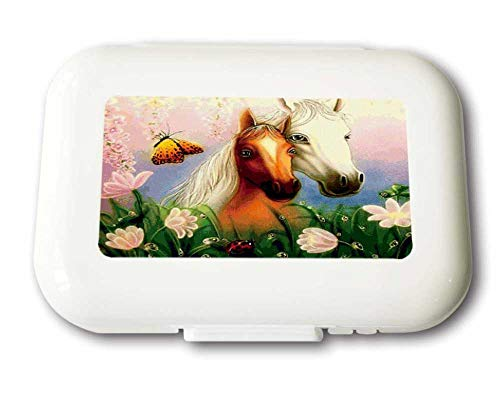 Small Weekly Pill Case - Watercolor Love Horses Travel Pill Organizer Box for Travel Safe Plastic Material 7 Small and 1 Large-Compartment