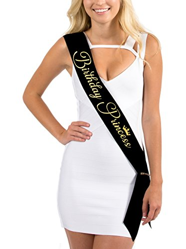 Black Satin Birthday Princess w/Crown Sash in Gold Glitter Lettering - 18th, 21st, 30th Birthday Sashes by Dulcet Downtown