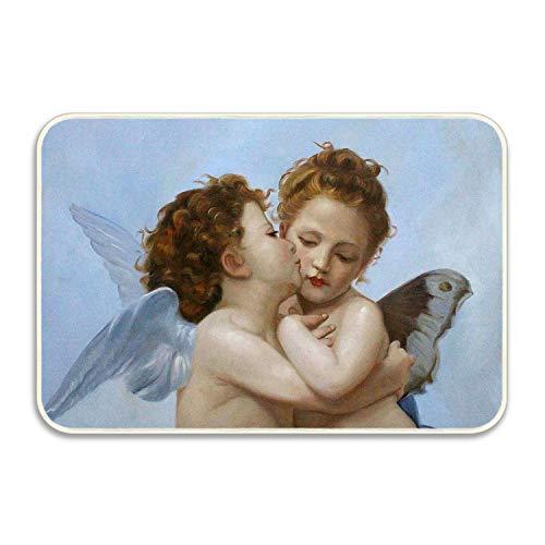 (Ranhkdn Custom Home Kiss Little Angel Decorative Floor Mat Kitchen,Bathroom Doormat Entry Rug)