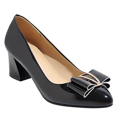 Charm Foot Womens Mid Heel Bows Pointed Toe Chunky Pumps Shoes Black dkOIQ