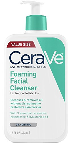 Clean Foaming Gel Cleanser (CeraVe Foaming Facial Cleanser 16 oz for Daily Face Washing, Normal to Oily Skin)