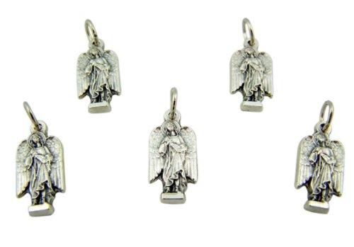 lot-of-5-archangel-saint-st-raphael-3-4-inch-silver-tone-silhouette-medal