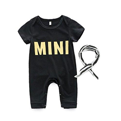 Print Striped Headband (IEason Baby Clothes Newborn Baby Toldder Letter Print Jumpsuit Romper+Striped Headband Set Clothes (18-24 Months, Black))